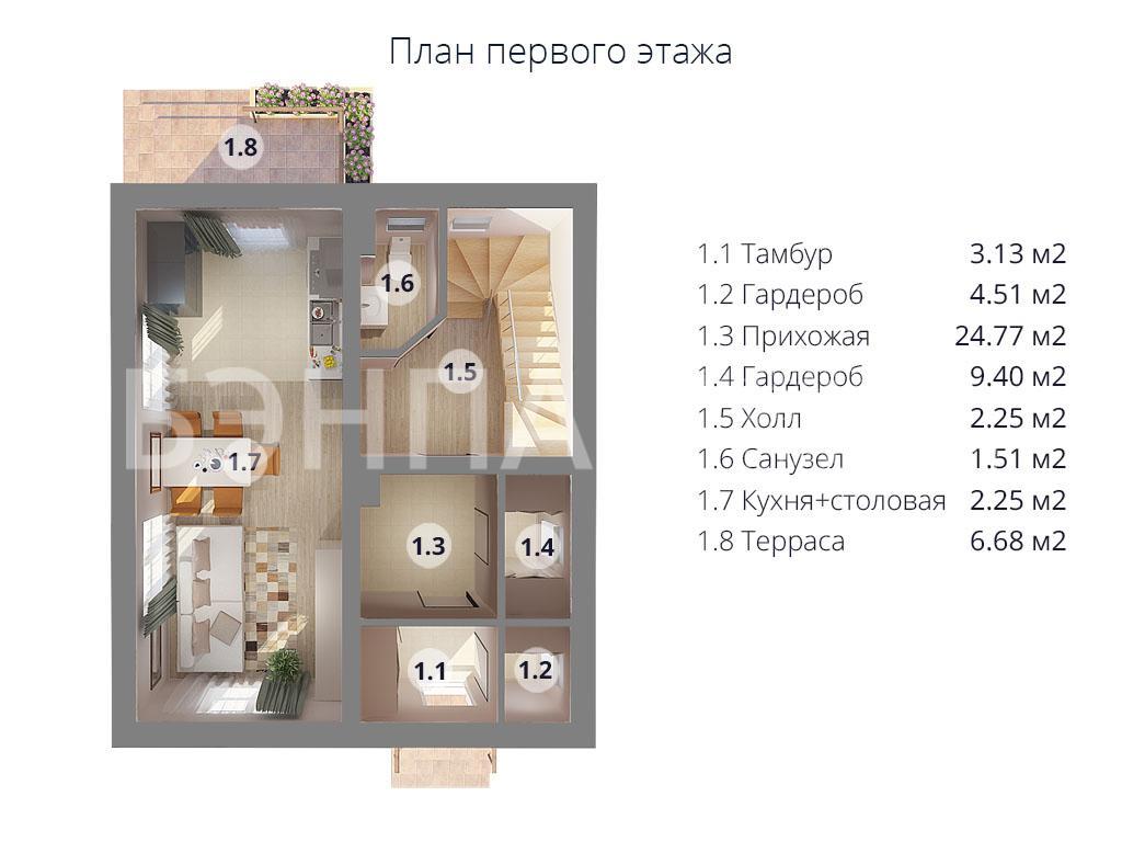 Планировка первого этажа проекта МС-97 апрель 2019 года