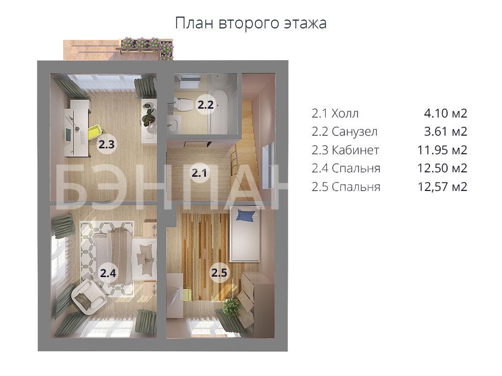 Планировка второго этажа проекта МС-97 апрель 2019 года