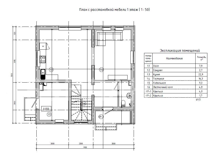 Планировка второго этажа проекта МС-146/2 февраль 2019 года
