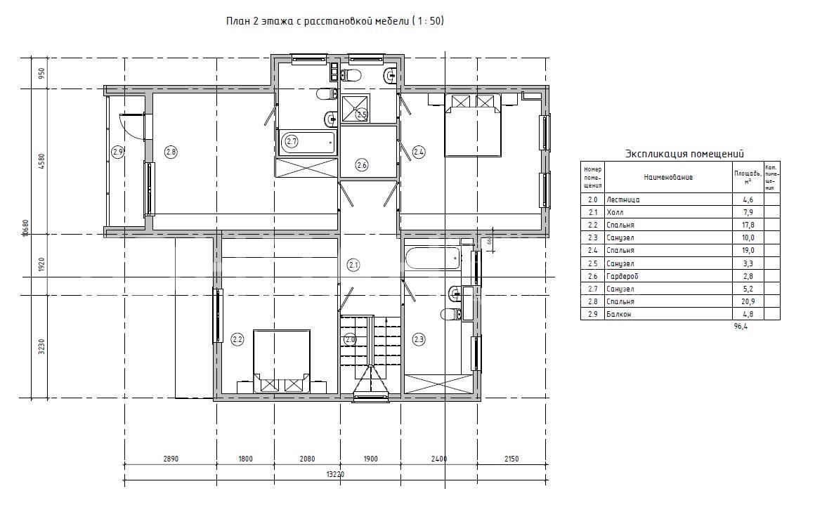 Планировка второго этажа проекта МС-253/1 июнь 2019 года