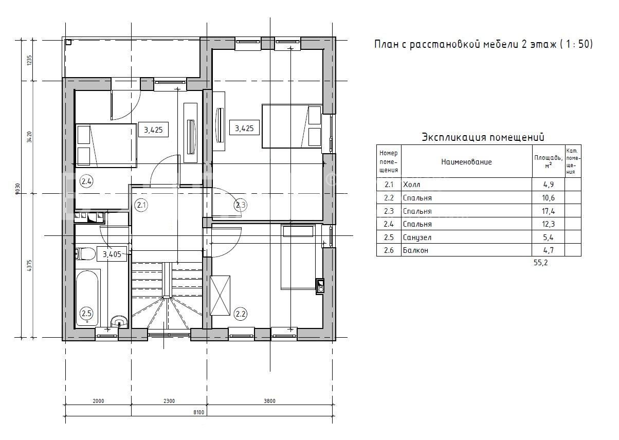 Планировка второго этажа проекта МС-146/1 февраль 2019 года