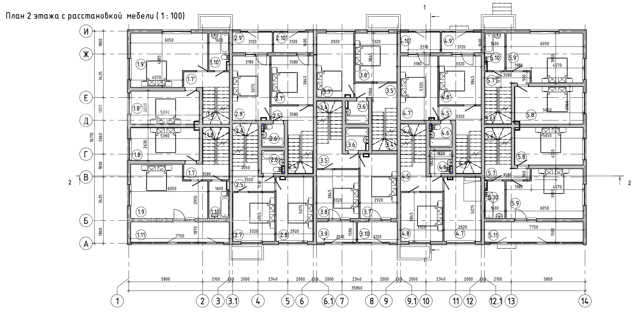 Планировка второго этажа проекта МС-1393 июнь 2019 года
