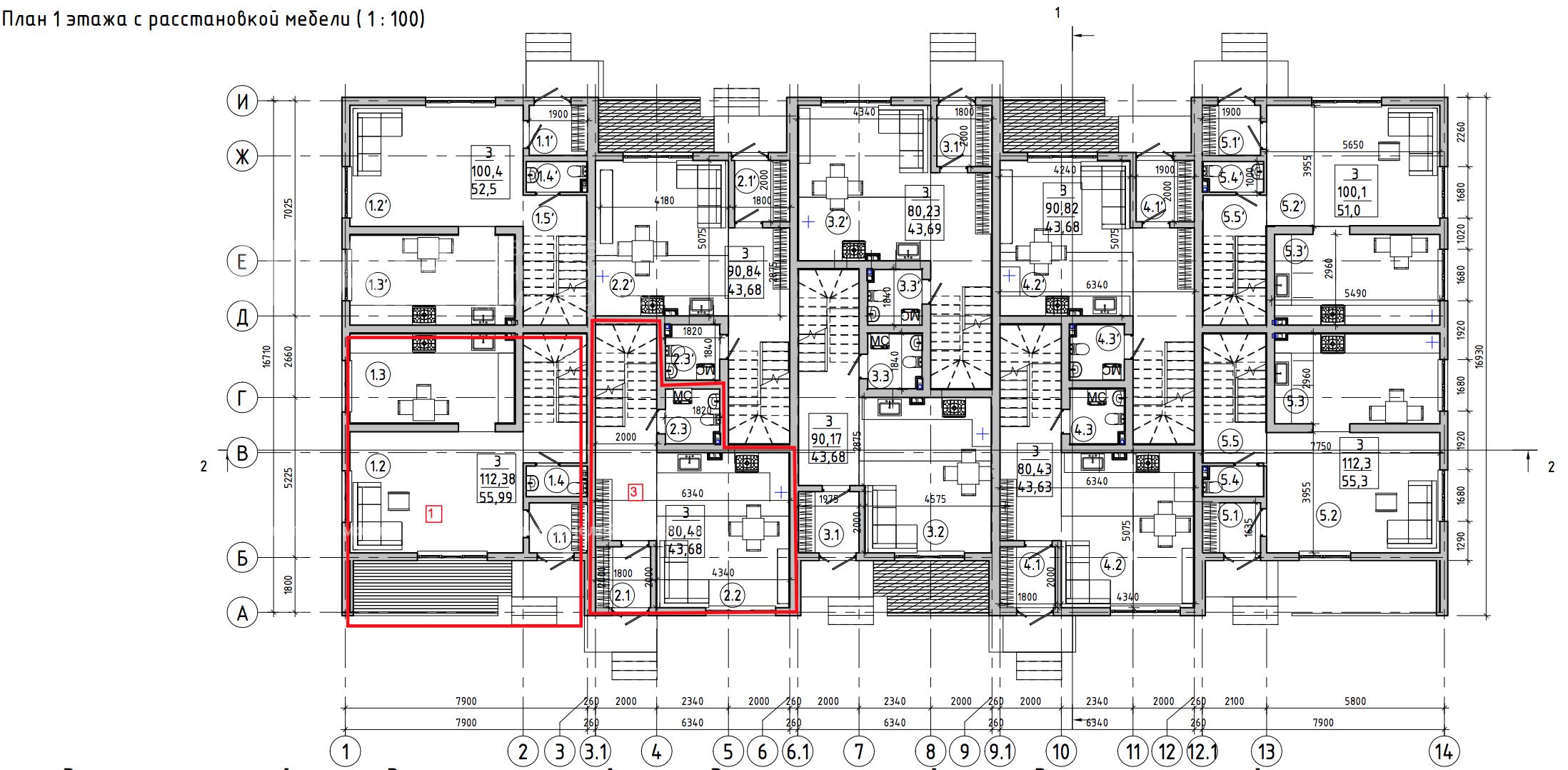 Планировка первого этажа проекта МС-1393 июнь 2019 года
